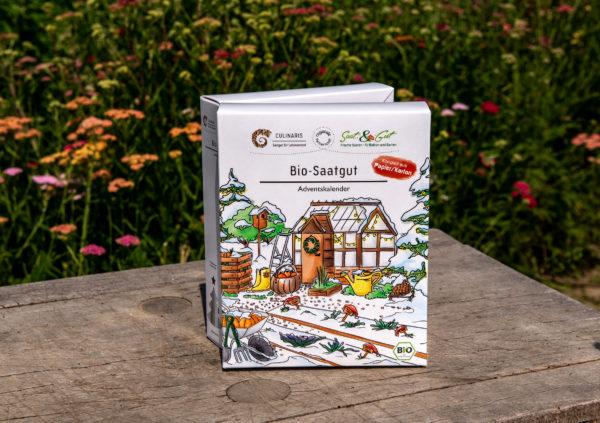 BIO Gemüse-Saatgut Adventskalender. Ansicht von vorne
