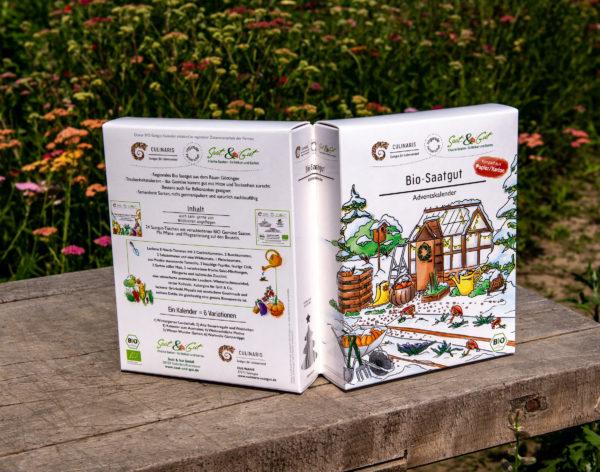 BIO Gemüse-Saatgut Adventskalender. Offen, ansicht von Außen auf Tisch